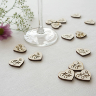 Gay 'Mr and Mr' engraved wooden love heart table confetti L74 LGBT