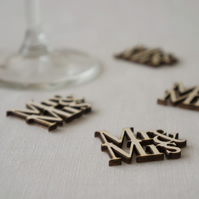 Wedding table confetti laser cut 'Mr and Mrs' wooden wedding decorations L70