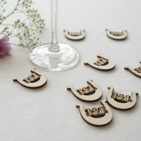 Personalised lucky horse shoe wedding table confetti L78