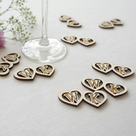 Personalised love heart wedding table confetti pieces engraved wood L82