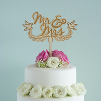 Mr and Mrs wedding cake topper. Custom made wedding cake decoration L162