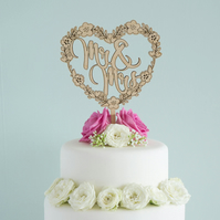 Rustic Mr and Mrs wedding cake topper decoration with floral love heart L157