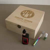 Engraved wooden storage box for vapers and e cigarette users L313