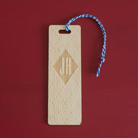 Monogram bookmark. Personalised engraved wooden bookmark art deco style L240