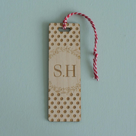 Monogramed bookmark. Personalised engraved wooden bookmark polka dots L173