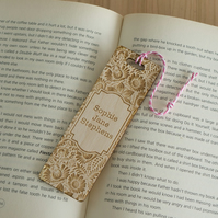Personalised bookmark. Unique custom made vintage flower wooden bookmark L74