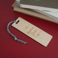 Unique bookmark. Personalised cursive lettering engraved wooden bookmark L241