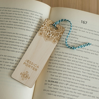 Personalised bookmark.Engraved bookmark with mandala flower design L190
