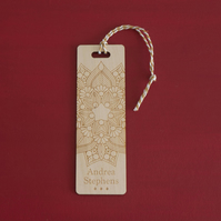 Custom made bookmark. Engraved bookmark large mandala flower L236