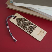 Personalised bookmark. Laser cut bookmark with geometric pattern L189