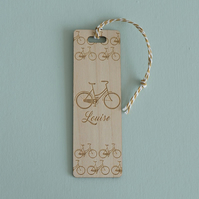 Personalised bookmark. Bicycle engraved bookmark cycling enthusiast L193