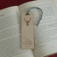 Unique bookmark. Personalised stag head engraved bookmark L238