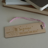 Personalised child's bookmark. Unicorns are real engraved bookmark L292