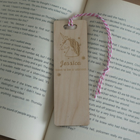 Personalised child's bookmark. Born to be a unicorn engraved bookmark L291