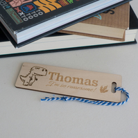 Personalised child's bookmark. Custom made dinosaur engraved bookmark L171