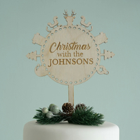 Personalised Christmas cake topper. Custom engraved with family name L221