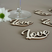 Rustic cottage chic wooden 'Love' table confetti pieces L285