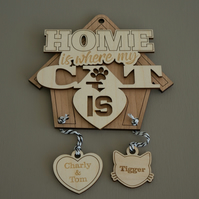 Personalised hanging dog sign. Home is where my cat is engraved wooden sign L169