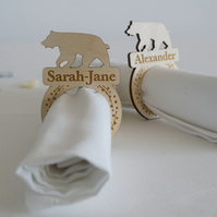 Engraved wooden polar bear napkin rings. Personalise with first name L224