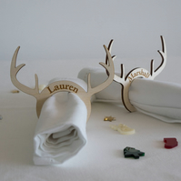 Personalised Christmas antler napkin rings. Engraved wooden rings L223