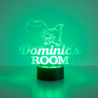 Personalised child's dinosaur LED bedroom night light lamp D24