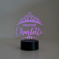 Personalised girl's Princess tiara LED bedroom night light lamp D28