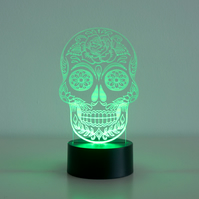 Day of the dead sugar skull LED lamp. Man cave den light sign D26