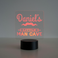Personalised child's 'Little man's cave' LED bedroom night light lamp D28