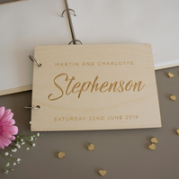 Personalised wedding guest book. Modern engraved wooden guest book L298