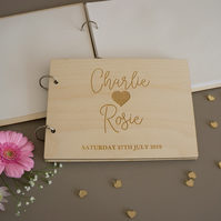 Custom made wedding guest book. Laser engraved wooden book wedding keepsake L300