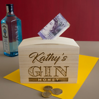 Personalised engraved money box. Funny gin saving funds piggy bank L320