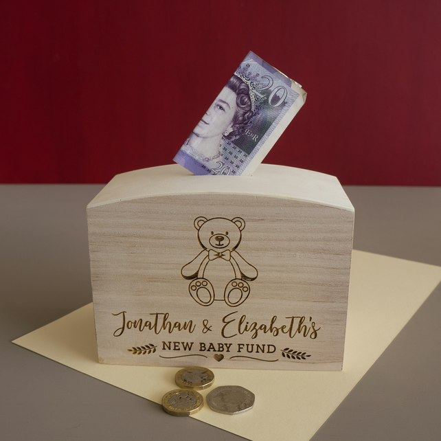 Engraved personalised new baby money box. Wooden savings box  L318