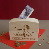 Personalised unicorn money box. Magical unicorn funds saving box L317