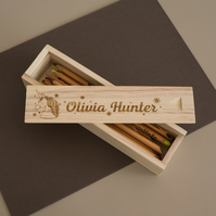 Personalised wooden pencil box. Engraved pencil case for girl with unicorns 315