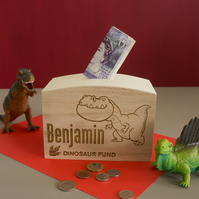 Engraved personalised dinosaur fund money box. Childs wooden savings box  L321