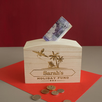 Engraved personalised holiday fund money box. Adventure wooden savings box  L330
