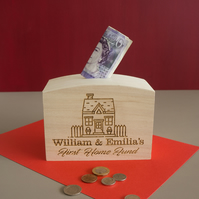 Engraved personalised first home money box. Engraved wooden savings box L331