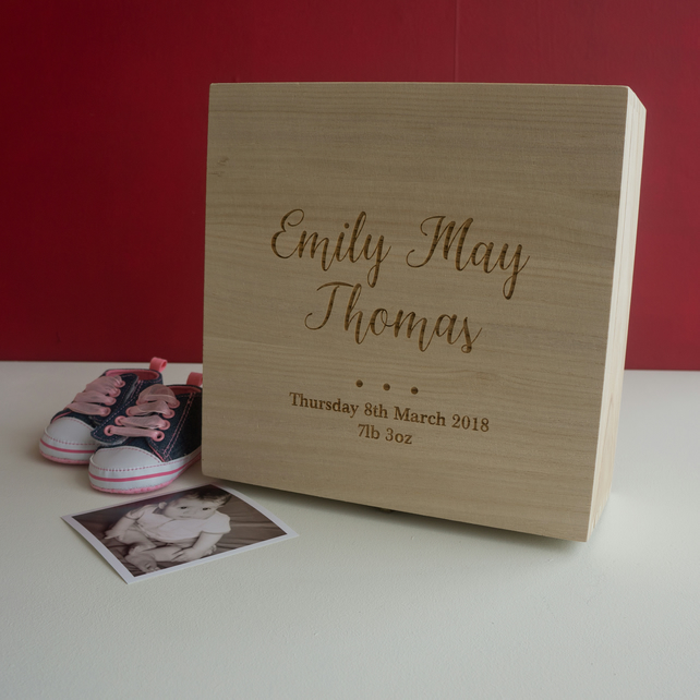 Personalised new born baby memory box. keep skae box for new mums & babies L27