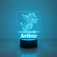 Personalised child's dragon LED bedroom night light lamp D27