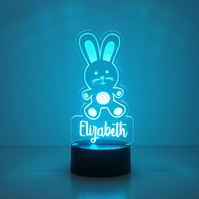 Personalised child's bunny rabbit LED bedroom name sign night light lamp D32