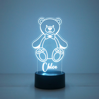 Personalised child's teddy bear LED bedroom name sign night light lamp D31