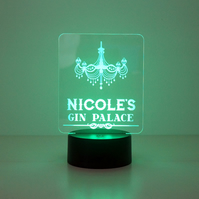 Personalised gin palace sign. Multi colour LED side light lamp home bar decor D1