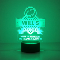 Personalised rugby man cave LED name sign. Multi colour table lamp light D40F