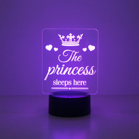 Girl's bedroom 'The princess sleeps here' LED bedroom night light lamp D18