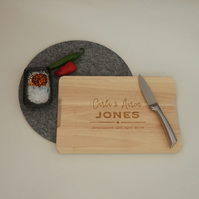 Personalised anniversary chopping board. Custom engraved wooden board L257