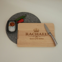 Personalised kitchen engraved chopping board. Queen of the kitchen L258