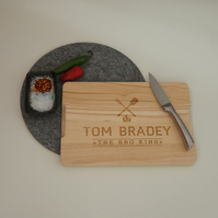 Personalised chopping board. BBQ barbecue King engraved wooden board L260