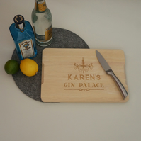 Personalised Gin and Tonic drinker chopping board. G&T funny gift L249P