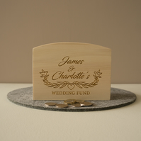 Engraved personalised wedding fund money box. Wooden savings box  L316