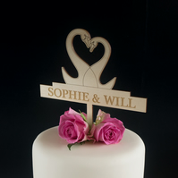 Personalised wedding cake topper with swans and couple's first names L140